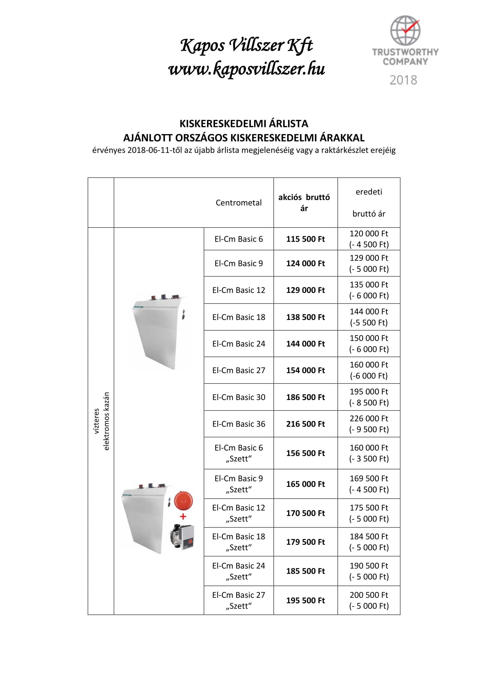 Elektromos kazán  érvényes 2018-06-11-től-1